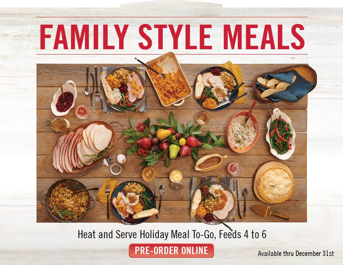 Coco's at your home! Heat and serve Holiday Meal To-Go, Feeds 4 to 6. Available Now through 12/31. Pre-Order yours by calling your local Coco's.
